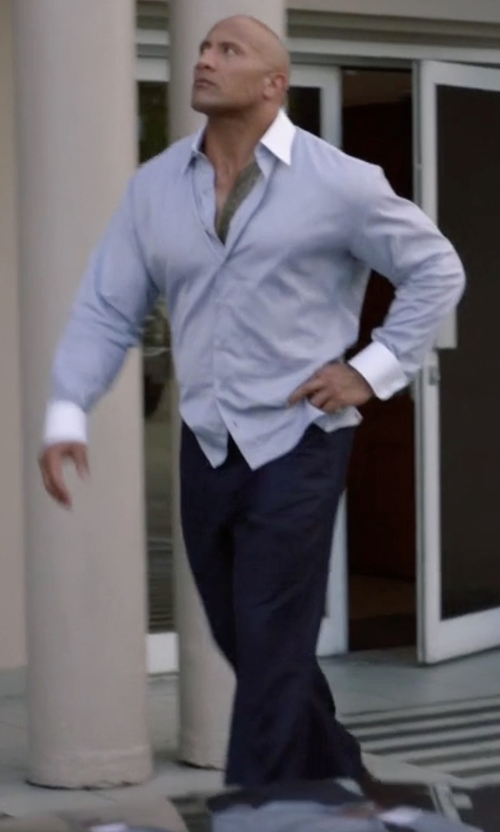 Dwayne Johnson with Incotex Standard-Fit Brushed Stretch Cotton Pants in Ballers
