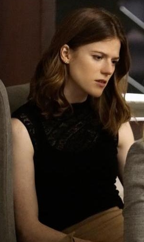 Rose Leslie with Elie Tahari Danae Sleeveless Lace-Trim Silk Blouse in The Good Fight