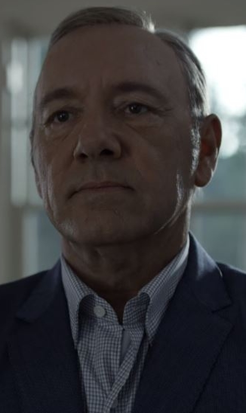 Kevin Spacey with David Donahue Trim Fit Check Dress Shirt in House of Cards