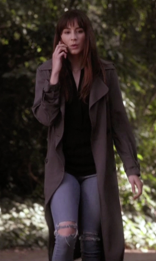 Troian Bellisario with Frame 'Le Skinny de Jeanne' Crop Raw Edge Jeans in Pretty Little Liars