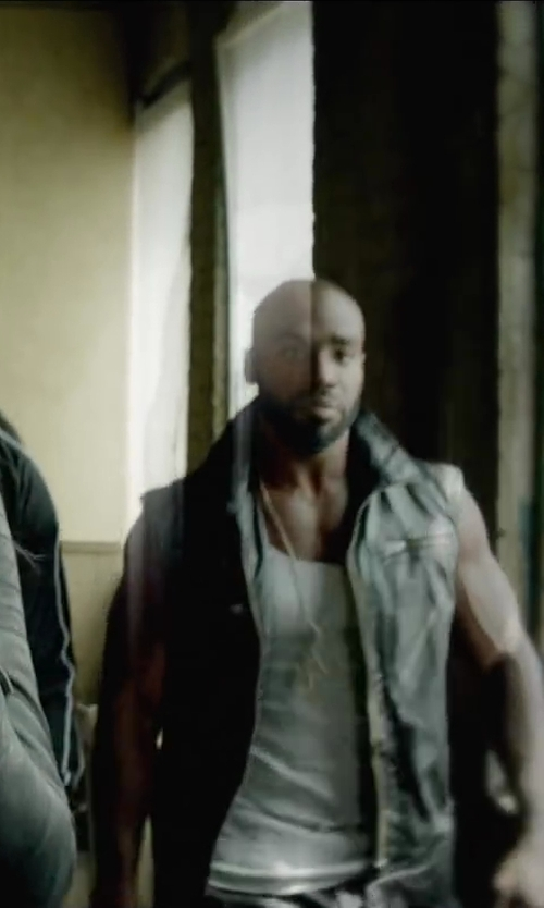 Unknown Actor with DJP OUTLET Leather Moto Vest in Brick Mansions