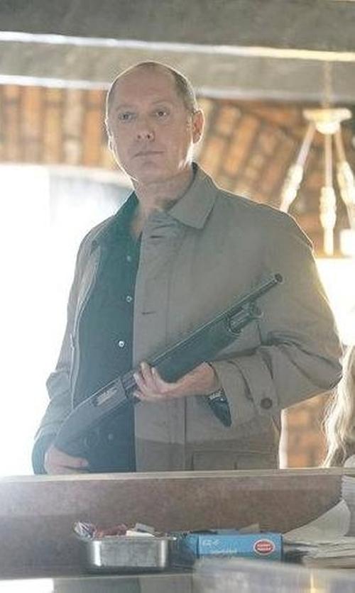 James Spader with Eleventy Short Cotton Raincoat in The Blacklist