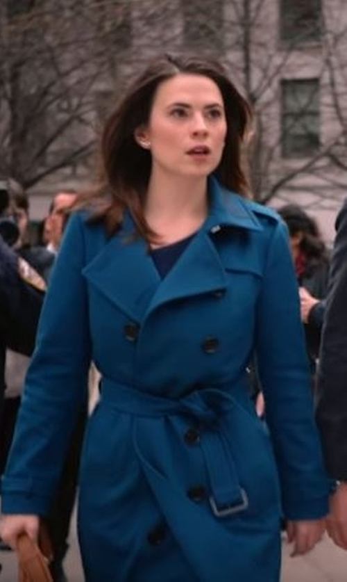 Hayley Atwell with Burberry London Brushed-Cashmere Trench Coat in Conviction