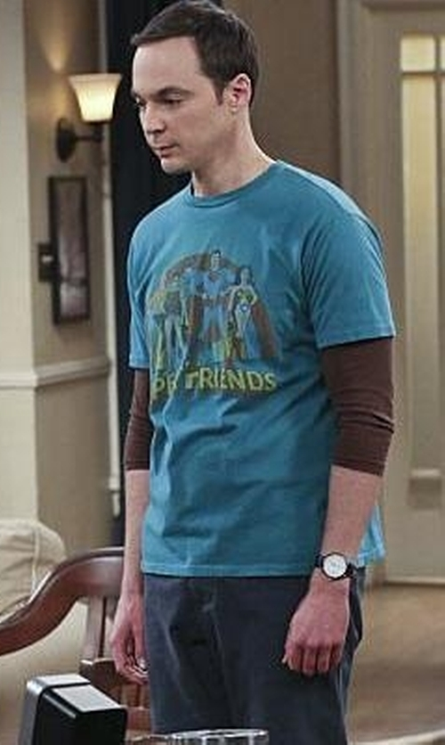 Jim Parsons with 80s Tees Super Friends T-shirt in The Big Bang Theory
