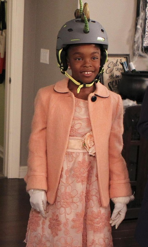 Marsai Martin with Pretty Me Embroidered Chiffon Dress in Black-ish