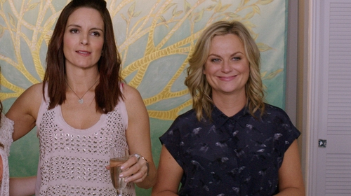 Amy Poehler with Chaps Printed Crinkle Blouse in Sisters