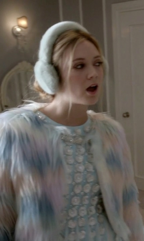 Billie Lourd with Nasty Gal Multicolor Fantasy Faux Fur Coat in Scream Queens