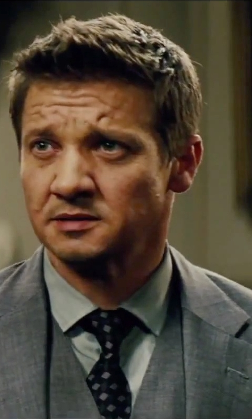 Jeremy Renner with Todd Snyder White Label Trim Fit Three Piece Plaid Wool Suit in Mission: Impossible - Rogue Nation