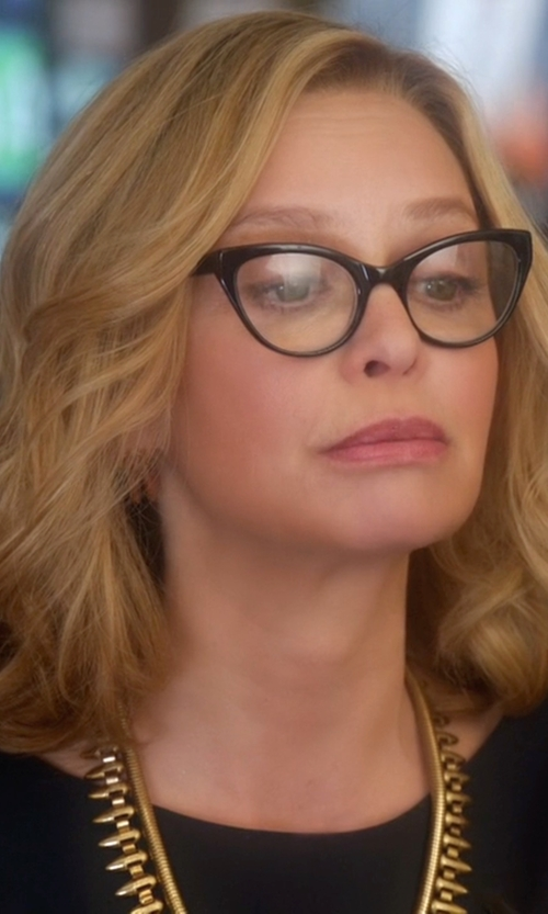Calista Flockhart with Prada Cat-Eye Contrast-Arm Fashion Glasses in Supergirl