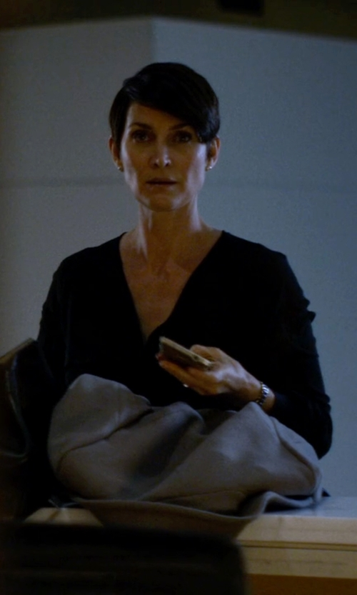 Carrie-Anne Moss with BCBGMAXAZRIA Cassidee Embellished Shoulder Blouse in Jessica Jones