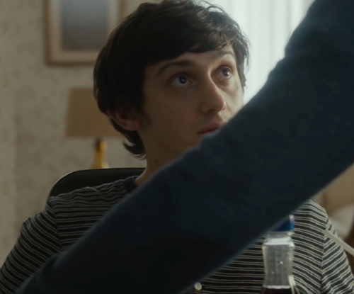Craig Roberts with April 77 Stripe T-Shirt in The Fundamentals of Caring