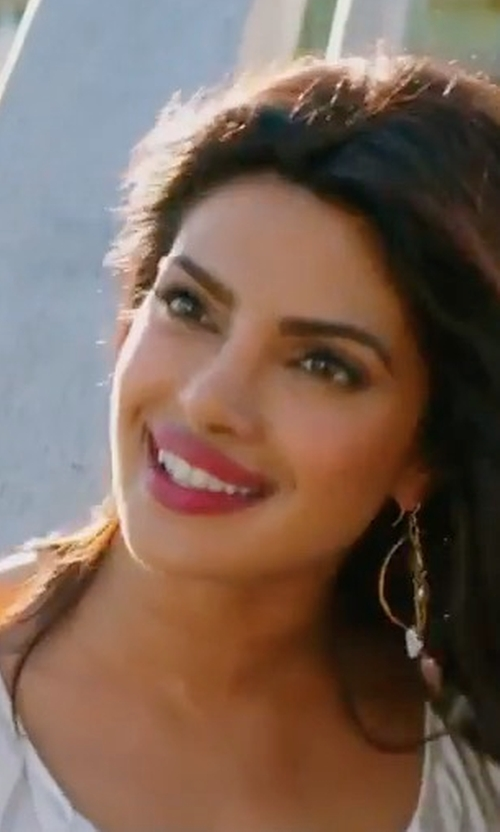 Priyanka Chopra with Lele Sadoughi Golden Orbit Drop Earrings in Baywatch