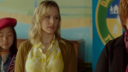 Kristen Bell with Stella McCartney Yellow Floral Printed Silk-Satin Shirt in The Boss