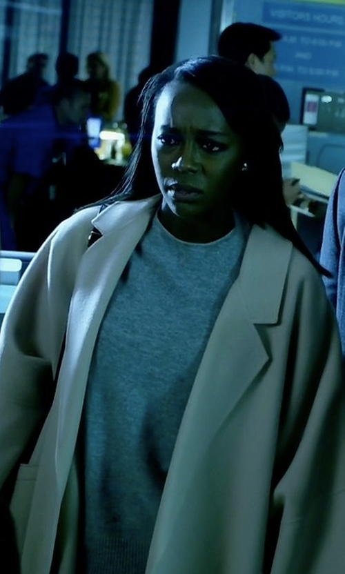 Aja Naomi King with Peserico Loro Piana Two Button Coat in How To Get Away With Murder