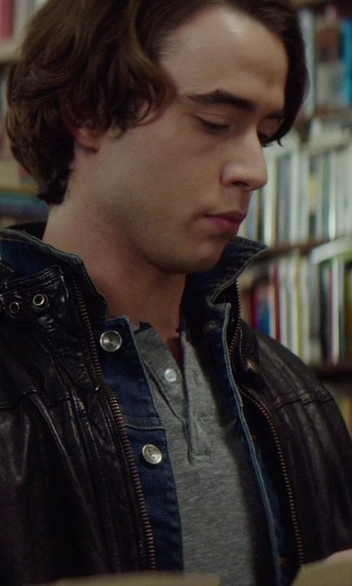Jamie Blackley with Club Room Solid Henley Shirt in If I Stay