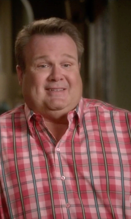Eric Stonestreet with Nordstrom Trim Fit Plaid Poplin Sport Shirt in Modern Family