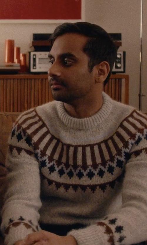 Aziz Ansari with AMI Scandinavian Crew Neck Sweater in Master of None
