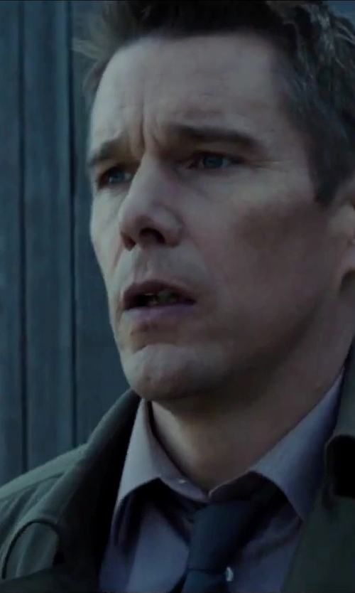 Ethan Hawke with John Varvatos Star USA Cotton-Silk Dress Shirt in Regression