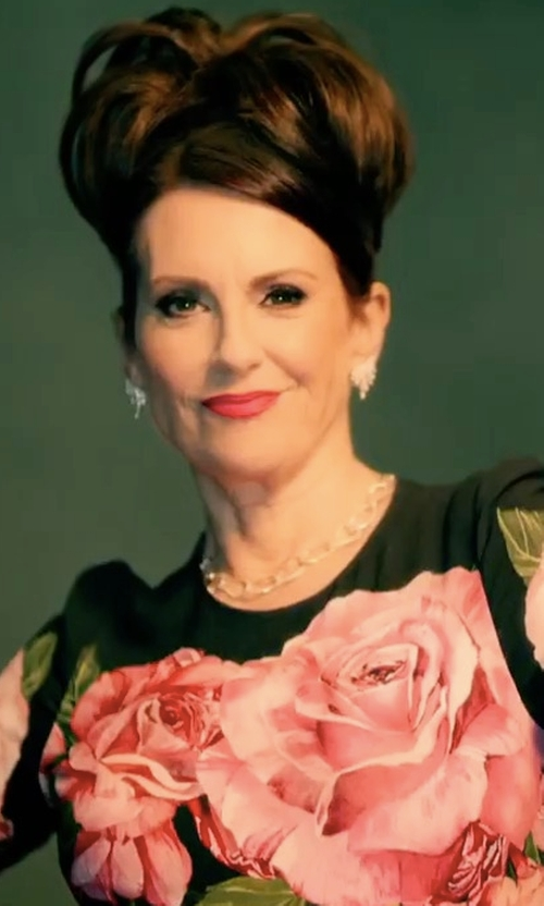 Megan Mullally with Dolce & Gabbana Rose Print Top in Will & Grace