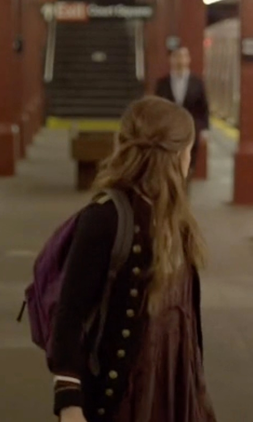 Carly Chaikin with Jansport Superbreak Backpack in Mr. Robot