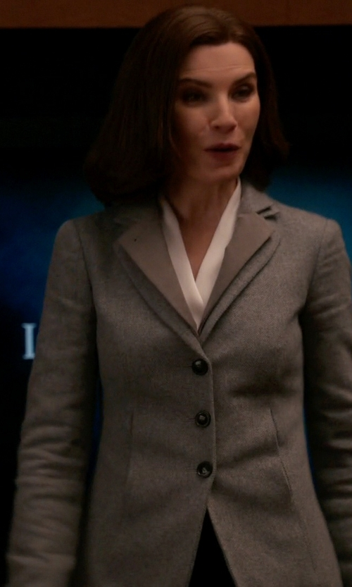 Julianna Margulies with Armani Collezioni Herringbone Jacket in The Good Wife