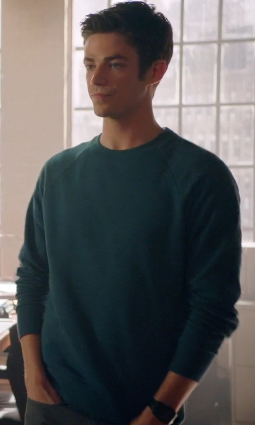 Grant Gustin with Z Zegna Crew Neck Sweater in Arrow