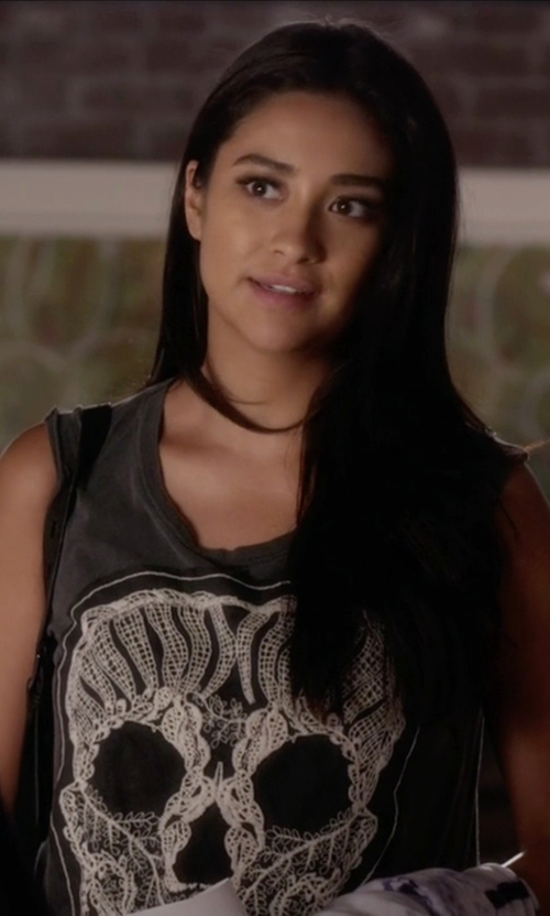 Shay Mitchell with Truly Madly Deeply Lace Skull Muscle T-Shirt in Pretty Little Liars