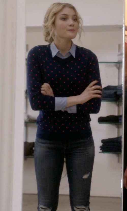 Skyler Samuels with J Brand Ellis Skinny Denim Jeans in Scream Queens