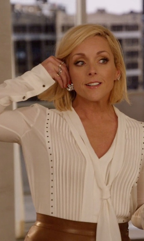 Jane Krakowski with Belstaff Walton Stud-Embellished Silk Blouse in Unbreakable Kimmy Schmidt