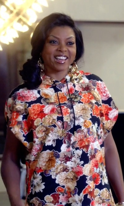 Taraji P. Henson with Givenchy Floral Hooded Top in Empire