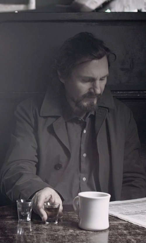 Liam Neeson with Theory Slyvain Solid Dress Shirt in A Walk Among The Tombstones