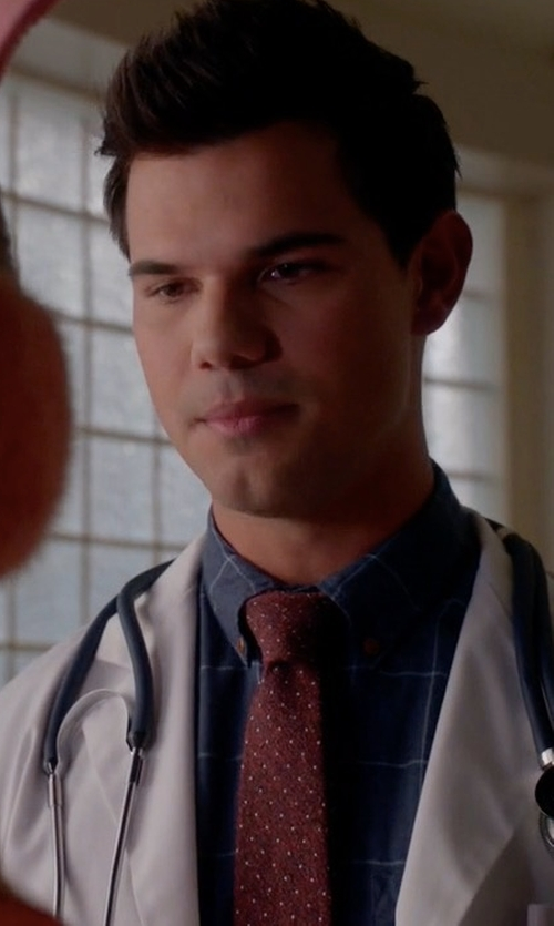 Taylor Lautner with Saks Fifth Avenue Collection Polka Dotted Tie in Scream Queens