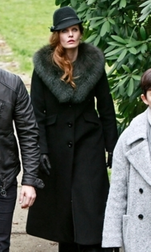 Rebecca Mader with Calvin Klein Faux Fur Collar Wool-Blend Maxi Coat in Once Upon a Time