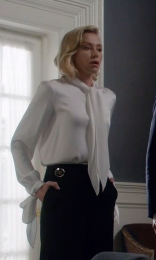 Portia de Rossi with Alexander McQueen Tie Neck Silk Crepe Blouse in Scandal