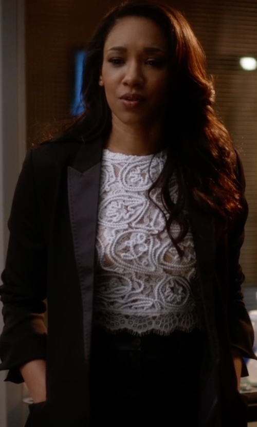 Candice Patton with The Kooples Stretch Smoking Jacket in The Flash