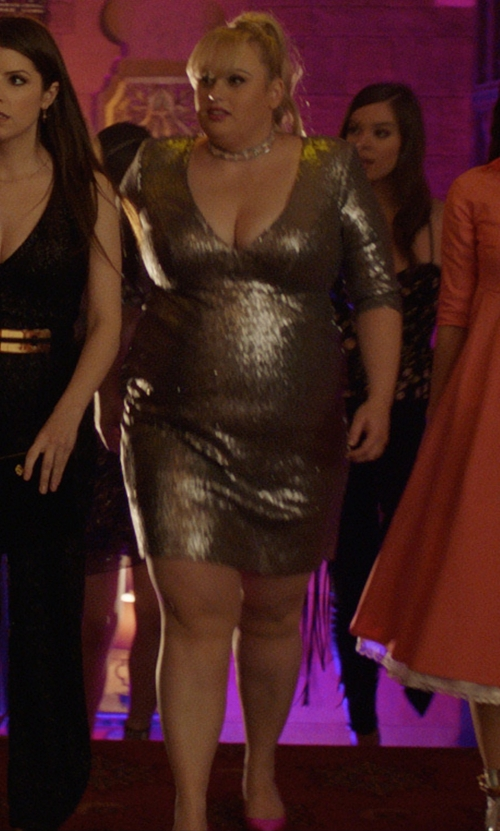 Rebel Wilson with SJP by Sarah Jessica Parker Katrina Satin Pointed-Toe Pumps in Pitch Perfect 3
