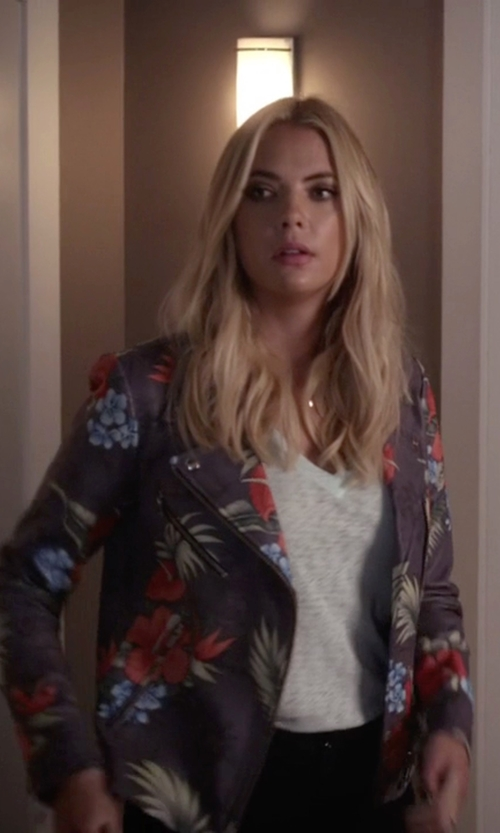 Ashley Benson with Veda 'Lazer' Print Leather Jacket in Pretty Little Liars