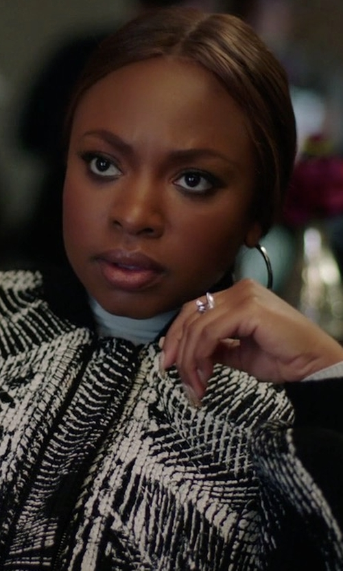 Naturi Naughton with Self-Portrait Two Tone Lace Bomber Jacket in Power