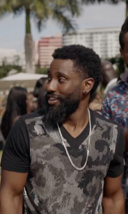 John David Washington with Zina Sterling Silver Venetian Chain Necklace in Ballers