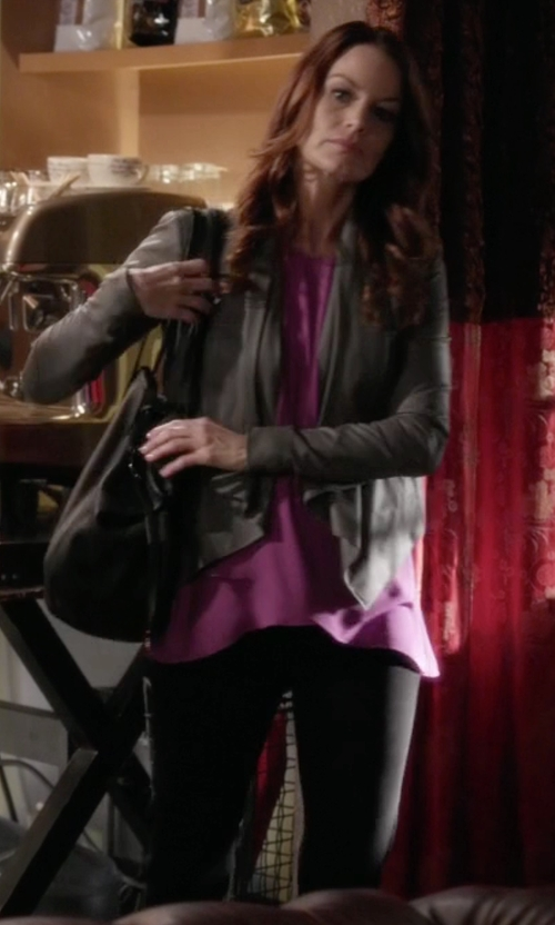 Laura Leighton with Dolce & Gabbana High-Waist Stretch-Wool Pants in Pretty Little Liars