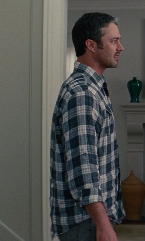 Taylor Kinney with Theory Plaid Button-Down Shirt in The Other Woman