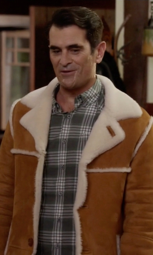 Ty Burrell with Overland Sheepskin Co Men's El Dorado Shearling Sheepskin Coat in Modern Family