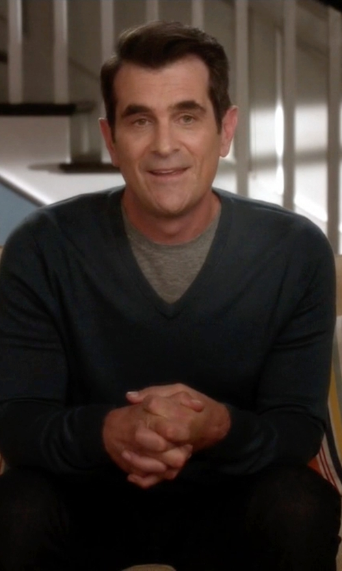 Ty Burrell with Murano Long-Sleeve Slim-Fit V-Neck Tee in Modern Family