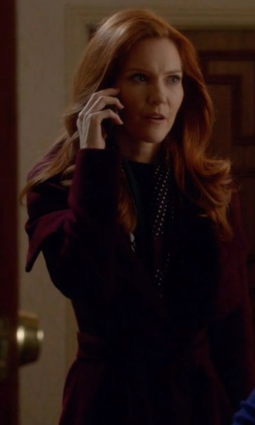 Darby Stanchfield with T Tahari Wool Blend Belted Wrap Coat in Scandal