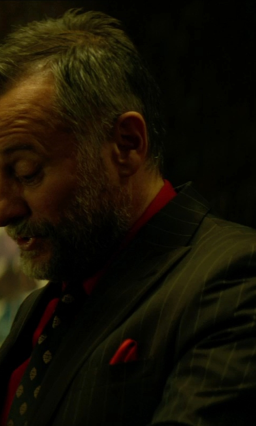 Michael Nyqvist with Yves Saint Laurent Woven Silk Pocket Square in John Wick