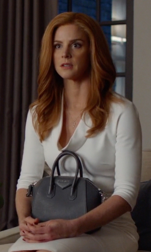 Sarah Rafferty with Givenchy Antigona Small Sugar Goatskin Satchel Bag in Suits