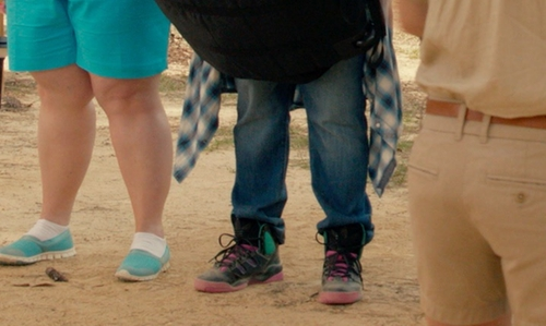 Ester Dean with Nike Pink/Black Leather High Top Sneaker in Pitch Perfect 2