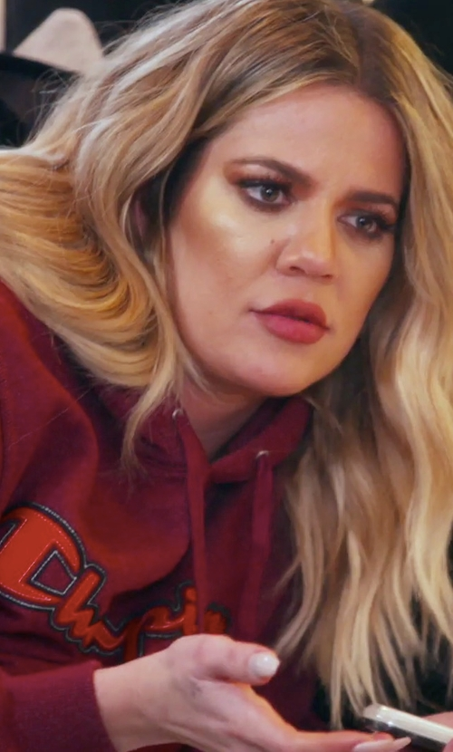 Khloe Kardashian with Champion Bordeaux Retro Graphic Hoodie in Keeping Up With The Kardashians