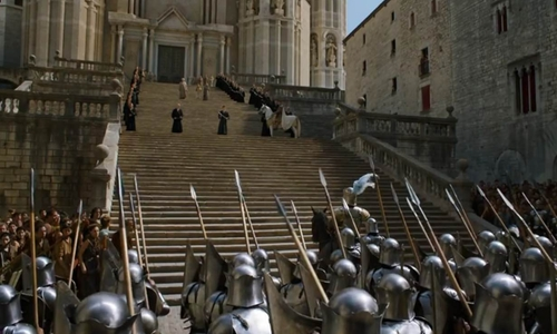 Unknown Actor with Girona Cathedral (Depicted as Great Sept Of Baelor) Catalonia, Spain in Game of Thrones