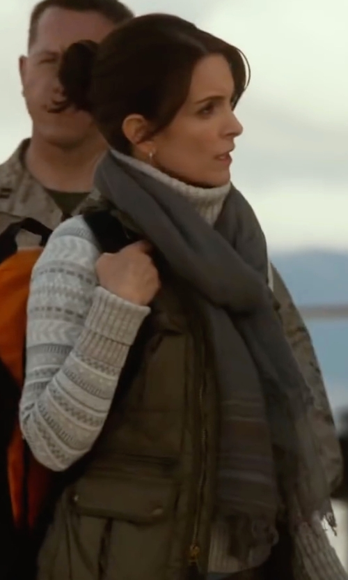 Tina Fey with American Rag  Cargo Vest in Whiskey Tango Foxtrot